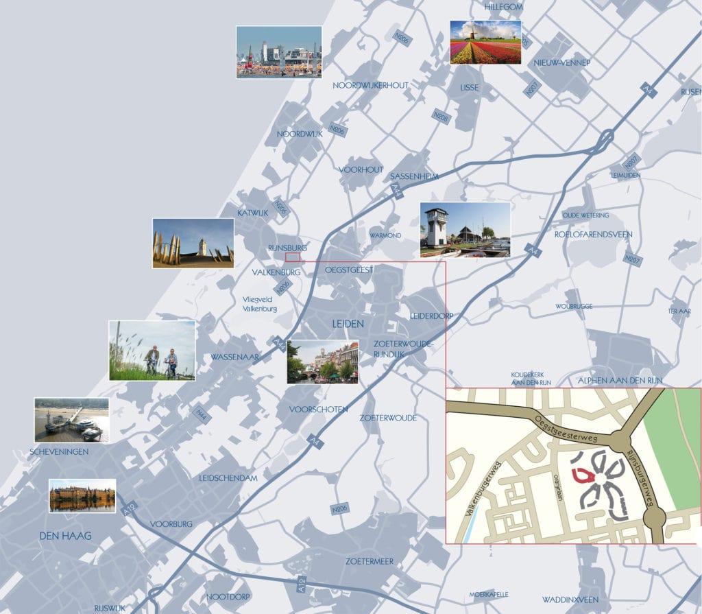 Omgeving van Calla Rijnsburg | Leiden | Oegstgeest | Voorschoten | Valkenburg | Sassenheim | Leidschendam