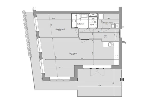 Short-Stay Appartement Plattegrond | Calla Rijnsburg